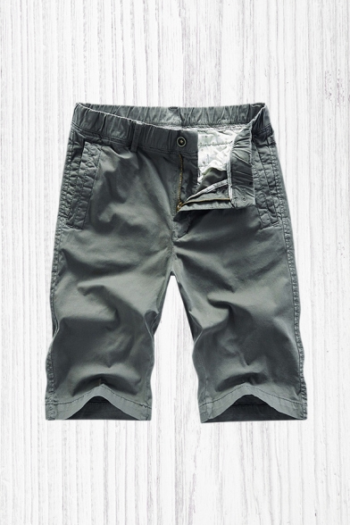 Basic Shorts Plain Zip-fly Button Pocket Knee Length Straight Fit Chino Shorts for Men
