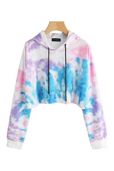 Chic Girls Tie Dye Print Long Sleeve Drawstring Relaxed Cropped Hoodie in Blue