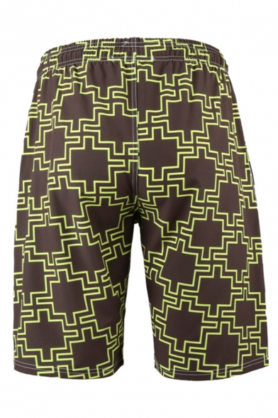 Classic Mens 3D Relax Shorts Contrasted Geometric Dragon Pattern Quick-Dry Drawstring Waist Regular Fitted Relax Shorts