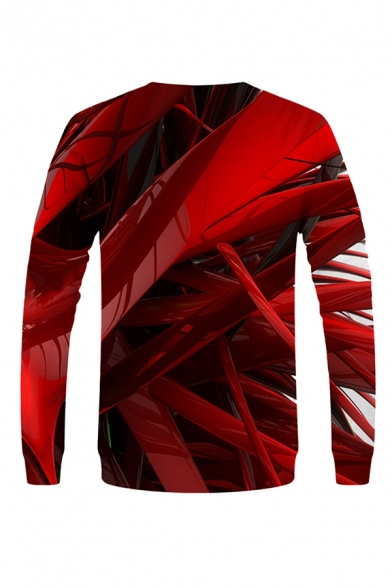 Cool 3D Tiger Mouth Pattern Letter Hahaha Pullover Long Sleeve Round Neck Regular Fit Sweatshirt for Men