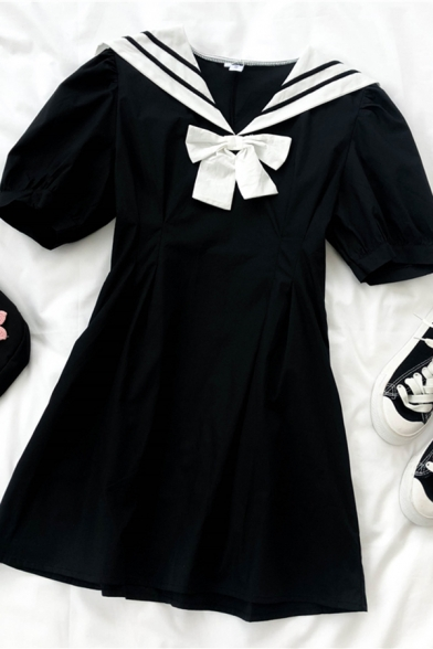 Cool Girls Bow Pleated Patchwork Contrast Striped Sailor Collar Short Puff Sleeve Midi Sailor Dress in Dress in Black