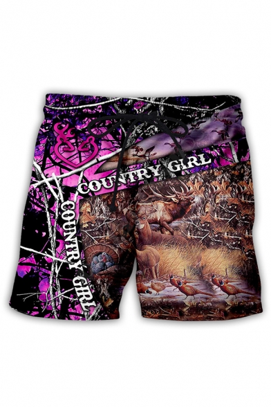 Creative Mens Letter Country Girl Forest Deer Pattern Drawstring Waist Relaxed Shorts