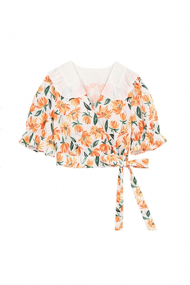 Fashion Girls Floral Printed Ruffle Cuff Bow Peter Pan Collar Short Puff Sleeve Slim Fit Wrap Front Blouse in Orange