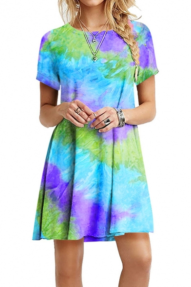 Fashion Womens Tie Dye Print Short Sleeve Round Neck Short Pleated Swing T Shirt Dress