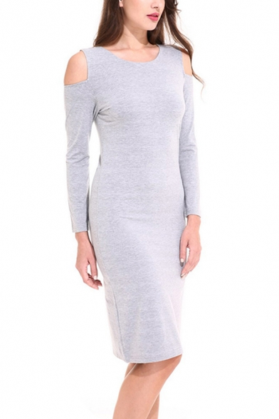 Leisure Womens Long Sleeve Cold Shoulder Mid Shift Dress in Gray