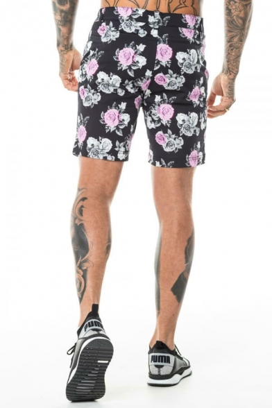Mens Unique Floral Printed Zipper Fly Button Fitted Shorts with Pockets