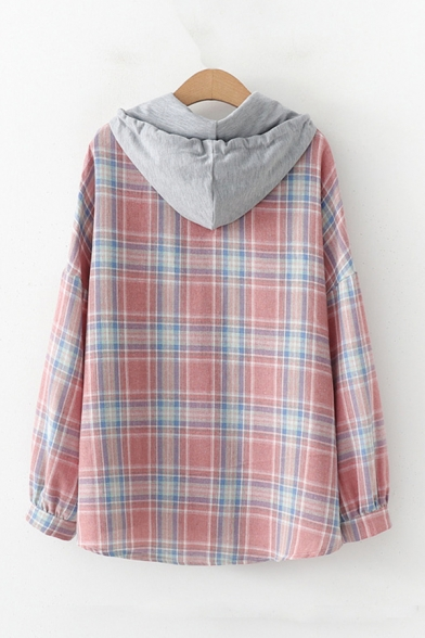 Novelty Womens Patchwork Button Down Drawstring Hooded Long Sleeve Loose Fit Shirt