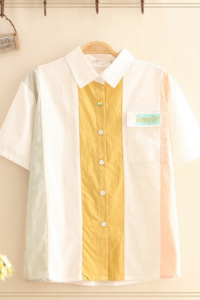 Popular Womens Letter Sunny Girl Embroidered Flap Pocket Contrasted Button down Loose Fit Shirt Top