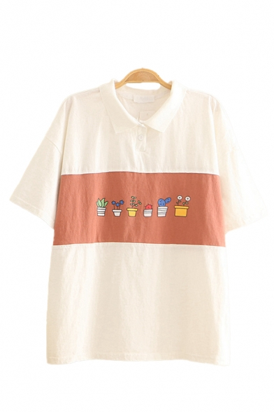 Preppy Girls Plant Printed Colorblock Short Sleeve Turn down Collar Button up Loose Fit Polo Shirt