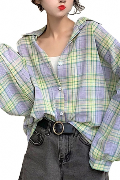 Stylish Plaid Printed Long Sleeve Spread Collar Button down Loose Fit Shirt Top for Girls