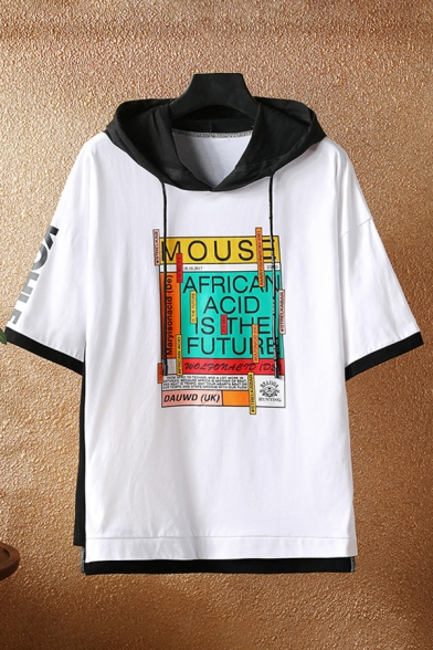 Unique Mens Colorblock Letter Mouse African Printed Drawstring Short Sleeve Round Neck Fitted Graphic Fake Two Piece Hooded T-Shirt