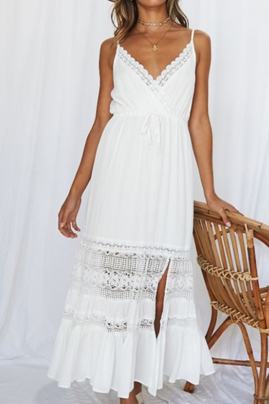 Boho Womens Hollow out Lace Patched Spaghetti Straps Drawstring Waist Ruffled Maxi Pleated A-line Beach Slip Dress in White