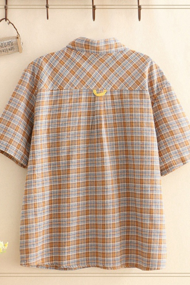 Casual Womens Flying Pig Embroidered Chest Pocket Plaid Printed Short Sleeve Turn down Collar Button down Relaxed Shirt Top