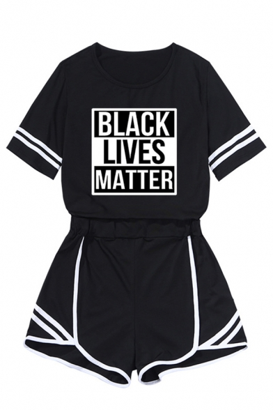 Cool Girls Letter Black Lives Matter Print Striped Short Sleeve Crew Neck Relaxed Tee & Shorts Co-ords in White