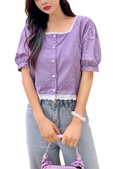 Cute Girls Lace Trimmed Puff Sleeve Square Neck Button-up Relaxed Crop Blouse