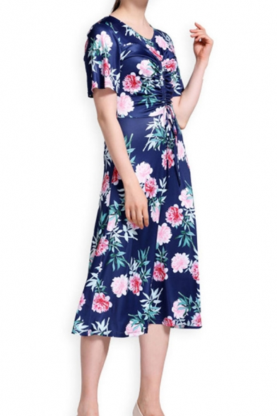 Elegant All over Flower Printed Short Sleeve Round Neck Drawstring Front Mid A-line Dress in Blue