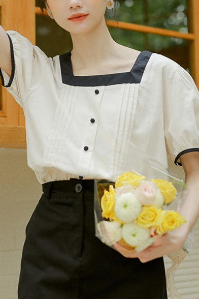 Fashion Womens Contrasted Puff Sleeve Square Neck Button up Pleated Loose Shirt Top in Apricot