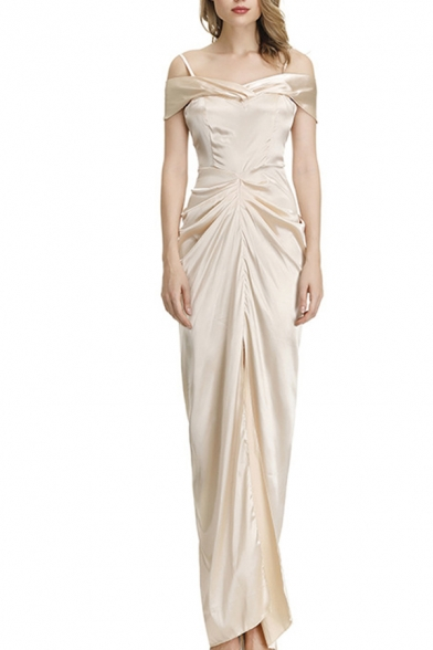 Popular Womens Cold Shoulder Slit Front Ruched Long Column Dress in White