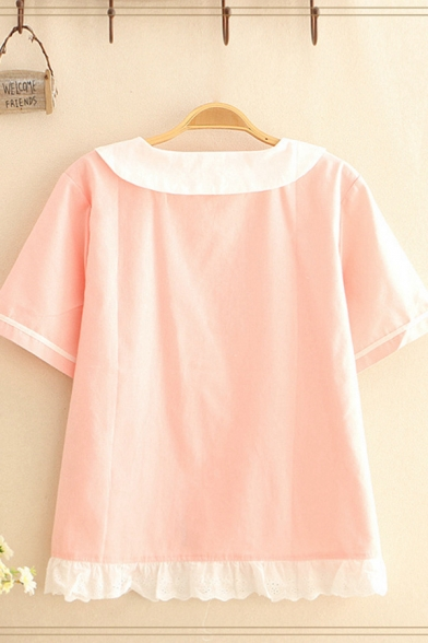 Preppy Girls Rabbit Printed Contrasted Short Sleeve Peter Pan Collar Button up Stringy Selvedge Relaxed Shirt in Pink