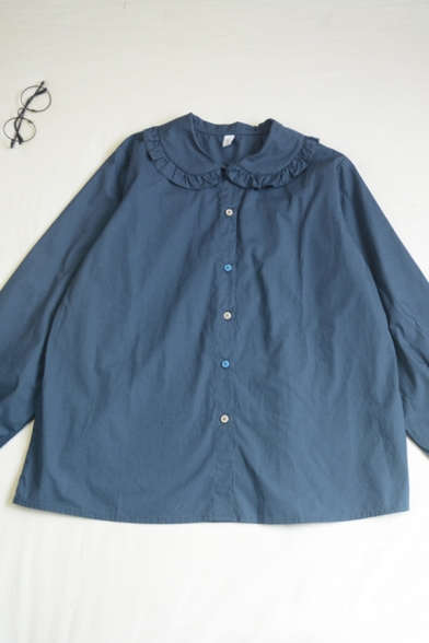 Simple Girls Solid Color Button Down Ruffle Trim Pleated Peter Pan Collar Long Sleeve Relaxed Fit Shirt