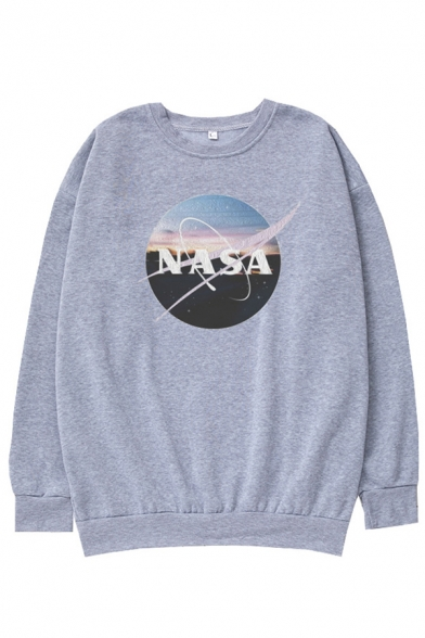 Stylish Guys Letter Nasa Graphic Long Sleeve Crew Neck Loose Fit Pullover Sweatshirt