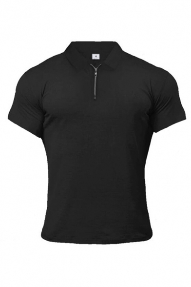 Stylish Men's Solid Color 1/4 Zip Short Sleeve Slim Fit Sweat Polo Shirt