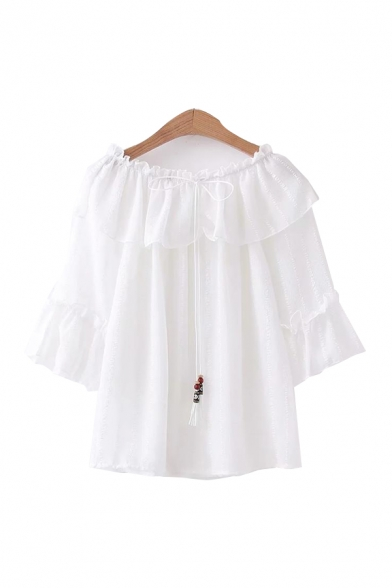 Unique Ladies Tie Detail Tassel Detail Striped Ruffle Trim Off the Shoulder Short Sleeve Relaxed Fit Shirt