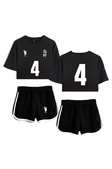 Womens Popular Letter Ics Footprint Graphic Short Sleeve Crew Neck Relaxed Crop Tee & Contrasted Shorts Set
