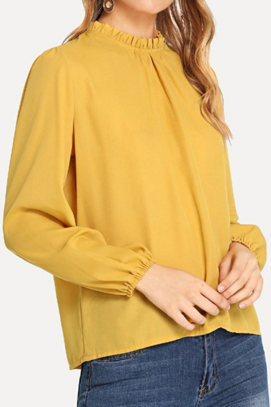 Womens Trendy Long Sleeve Stringy Selvedge Cut out Loose Fit Plain Blouse Top