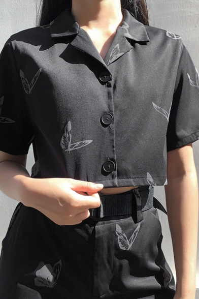 All over Butterfly Printed Short Sleeve Lapel Neck Button down Relaxed Cropped Fashionable Shirt in Black