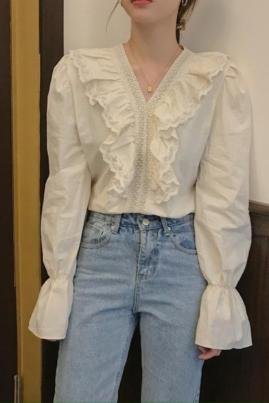 Chic Girls Ruffled Trim Lace Panel Long Sleeve V-neck Regular Fit Shirt Top in Apricot