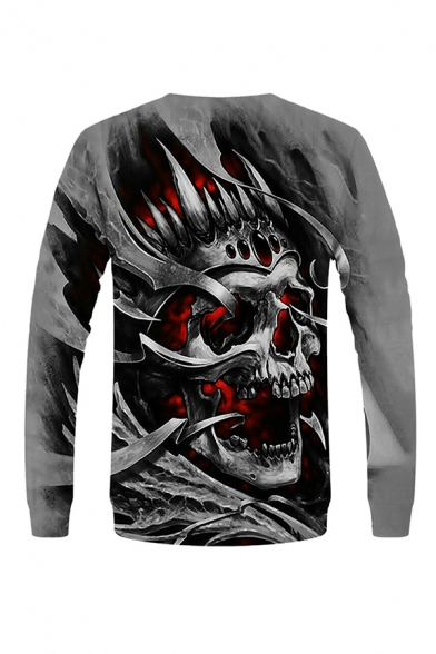 Chic Mens 3D Skull Dice Pattern Pullover Long Sleeve Round Neck Fitted Sweatshirt