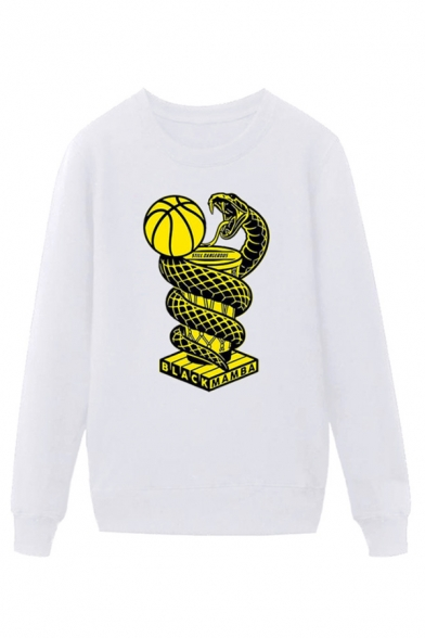 Cool Mens Basketball Snake Trophy Letter Black Mamba Printed Pullover Long Sleeve Round Neck Regular Fitted Graphic Sweatshirt