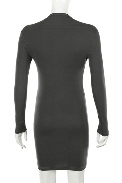 Edgy Looks Solid Color Long Sleeve Square Neck Short Bodycon Dress for Women