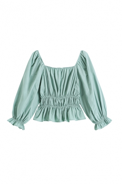 Elegant Ladies Solid Color Pleated Tiered Ruffle Cuff Square Neck Long Puff Sleeve Slim Fit Shirt in Green