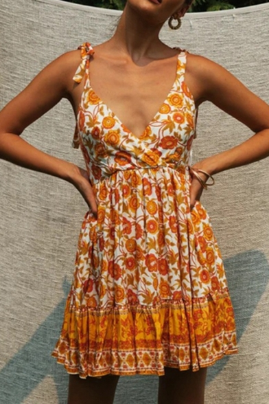 Fashionable Womens Allover Flower Printed Bow Tied Shoulder Ruffled Short Pleated A-line Cami Dress in Yellow