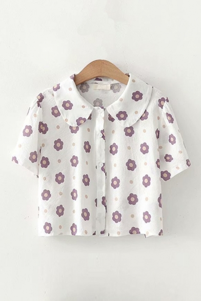 Gorgeous Girls Floral Printed Button Up Lapel Collar Short Sleeve Loose Fit Shirt