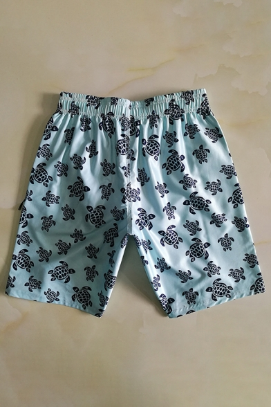 Men's New Stylish Allover Turtle Printed Summer Quick Dry Casual Swim Trunks with Pocket