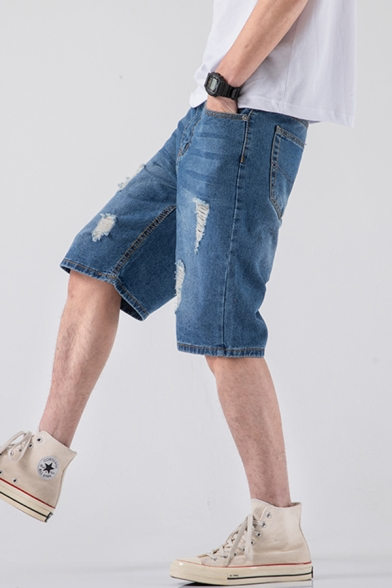 Men's Summer Fashion Vintage Washed Light Blue Zip-fly Ripped Denim Shorts (Pictures for Reference)