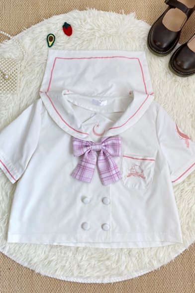 New Stylish Girls Moon Earth Embroidery Print Bow Pocket Double Button Down Contrast Piping Sailor Collar Short Sleeve Leisure Shirt in White