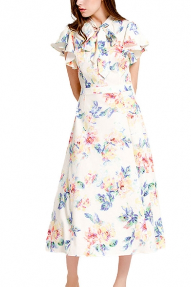 Retro Ladies White All over Floral Pattern Butterfly Short Sleeve Bow Tied Neck Mid A-line Dress