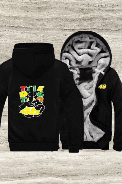 Sherap Liner Letter Hand Graphic Contrasted Long Sleeve Zipper Front Regular Fit Trendy Hoodie For Men