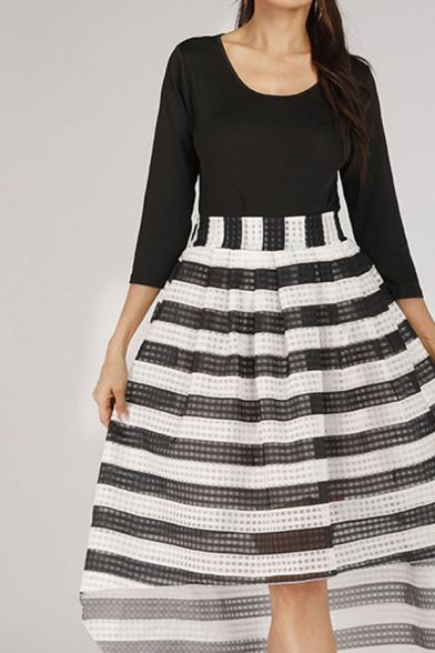 Stylish Girls Stripe Patterned 3/4 Sleeve Scoop Neck Bow Tied Waist High Low Semi-sheer Mid Flared Dress in Black