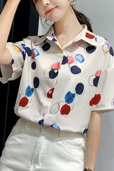 White Colorful Polka Dot Pattern Short Sleeve Point Collar Button up Relaxed Chic Shirt