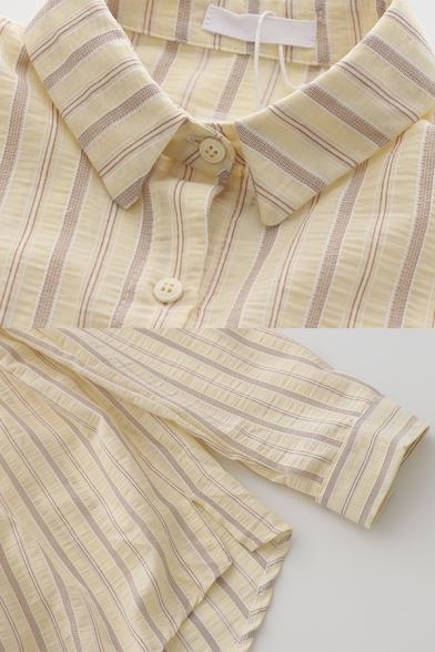 Womens Casual Striped Button Down Collar Long Sleeve Relaxed Fit Tunic Shirt in Yellow