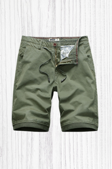 Basic Shorts Plain Zip-fly Button Drawstring Pocket Knee Length Straight Fit Chino Shorts for Men