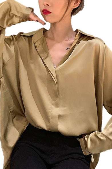 Chic Solid Color Long Sleeve Spread Collar Button-up Oversize Shirt Top for Girls
