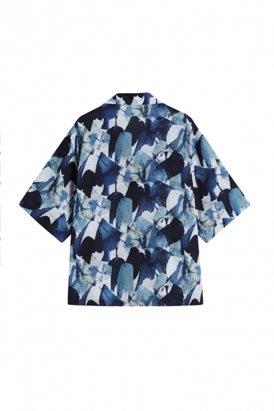 Chic Womens Geometric Printed Button Down Lapel Collar Short Sleeve Regular Fit Graphic Shirt in Blue