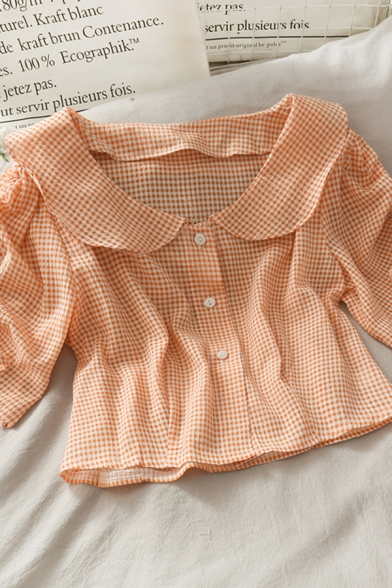 Classic Plaid Button Down Short Drawstring Sleeve Peter Pan Collar Relaxed Fit Cropped Blouse Top for Girls