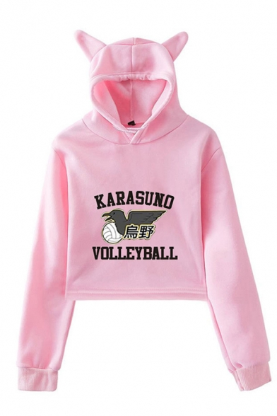 Cool Letter Karasuno Volleyball Graphic Long Sleeve Regular Fit Cropped Ears Hoodie in Pink